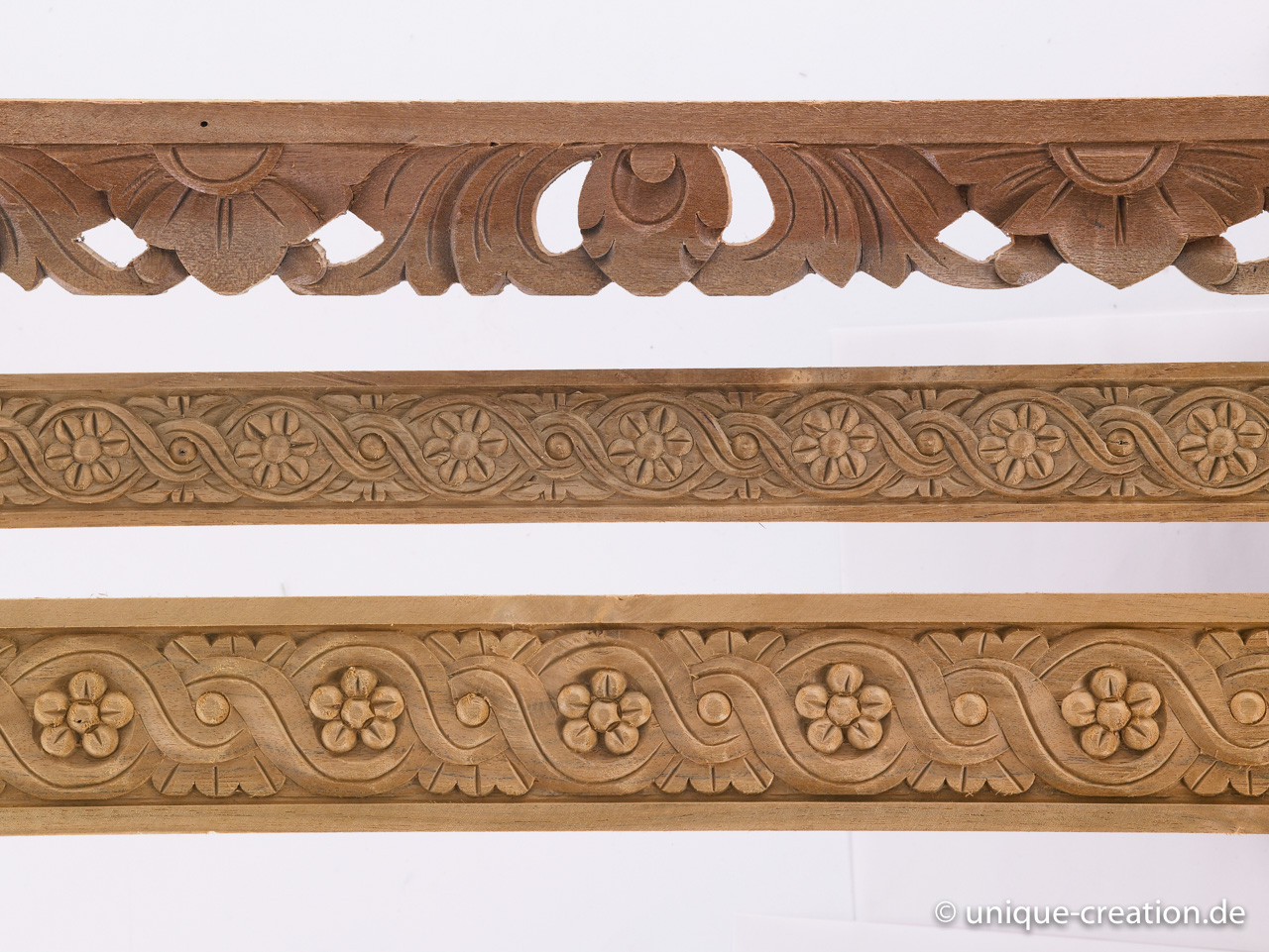Handcarved wood strips made from teak and other hardwood